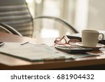 office supplies on wood table   ... | Shutterstock . vector #681904432