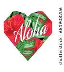 aloha heart poster   Shutterstock .eps vector #681908206