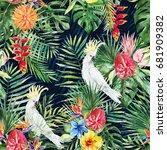 green palm leaves  white... | Shutterstock . vector #681909382