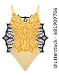 design swimsuit with mandala... | Shutterstock .eps vector #681909706