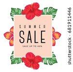 tropical summer sale design | Shutterstock .eps vector #681911446
