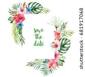 watercolor tropical floral... | Shutterstock . vector #681917068