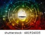 fingerprint scanning technology ... | Shutterstock . vector #681926035