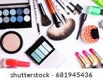 make up brush  eye shadow ... | Shutterstock . vector #681945436