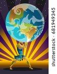 atlas the titan holding the sky ...   Shutterstock .eps vector #681949345