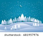 vector illustration of pine in... | Shutterstock .eps vector #681957976