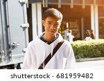 portrait men teenager student... | Shutterstock . vector #681959482