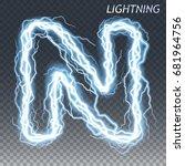 lightning and thunder bolt or... | Shutterstock .eps vector #681964756