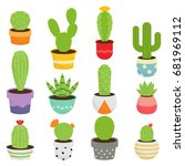 cactus plants and succulents | Shutterstock .eps vector #681969112