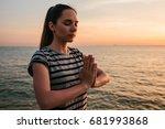 young beautiful girl practicing ... | Shutterstock . vector #681993868