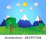 vector nature  paper cut concept | Shutterstock .eps vector #681997246
