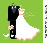 bride and groom suit and dress...   Shutterstock .eps vector #68200285