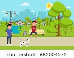 city park with benche  lantern... | Shutterstock .eps vector #682004572