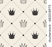 seamless monochrome  crown with ... | Shutterstock .eps vector #682018975