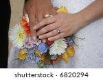 wedding bouquet with hands | Shutterstock . vector #6820294