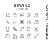 set line icons of sewing... | Shutterstock .eps vector #682035592