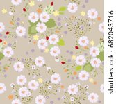 floral pattern. seamless mille... | Shutterstock .eps vector #682043716