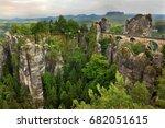 mountain landscape with bastei... | Shutterstock . vector #682051615