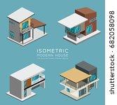 modern house isometric... | Shutterstock .eps vector #682058098