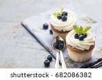 cupcakes with cream ... | Shutterstock . vector #682086382