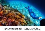 woman freediver glides over... | Shutterstock . vector #682089262