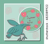 floral card with bird and... | Shutterstock .eps vector #682089922
