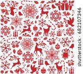christmas seamless pattern from ... | Shutterstock .eps vector #682107346