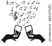glass cup cheers with music note | Shutterstock .eps vector #682107652