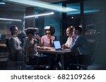 multiethnic business team using ... | Shutterstock . vector #682109266