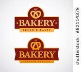 bakery shop logo template with... | Shutterstock .eps vector #682114378