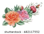 hand painted watercolor... | Shutterstock . vector #682117552