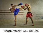 muay thai martial art   boxing  | Shutterstock . vector #682131226