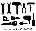 set of icons of tools on white...   Shutterstock .eps vector #682140562