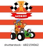 a cute little bear riding in a... | Shutterstock .eps vector #682154062