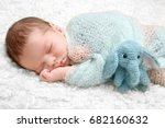 sleeping newborn baby boy with... | Shutterstock . vector #682160632