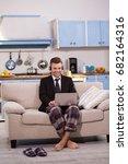 freelancer husband working... | Shutterstock . vector #682164316