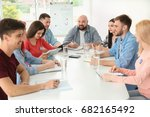 meeting of young volunteers... | Shutterstock . vector #682165492