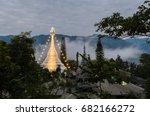 White Burmese Style Pagoda At...