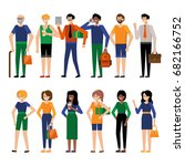 set of people in casual and... | Shutterstock .eps vector #682166752