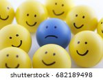 close up of unhappy and happy... | Shutterstock . vector #682189498