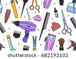 barber shop tools pattern | Shutterstock .eps vector #682192102