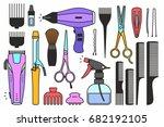 barber shop tools | Shutterstock .eps vector #682192105