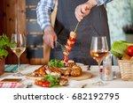 chicken dinner  bqq with salad   Shutterstock . vector #682192795