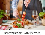 chicken dinner  bqq with salad | Shutterstock . vector #682192906