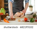 male preparing chicken for... | Shutterstock . vector #682195102