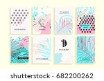 universal abstract posters set. ... | Shutterstock . vector #682200262