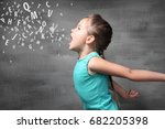 little girl and letters on... | Shutterstock . vector #682205398