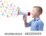 little boy with megaphone and... | Shutterstock . vector #682205455