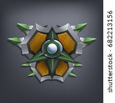 iron fantasy shield for game or ... | Shutterstock .eps vector #682213156