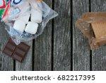 s'mores ingredients background...   Shutterstock . vector #682217395